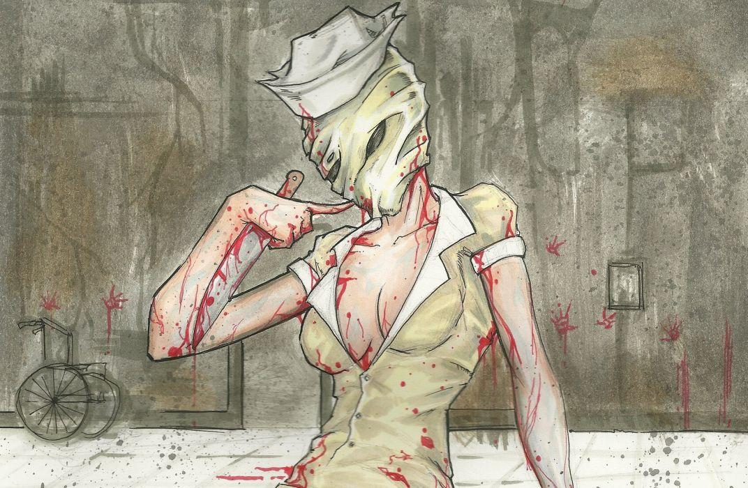 Silent Hill Painting Art Blood Games Girls Fantasy dark horror wallpaper