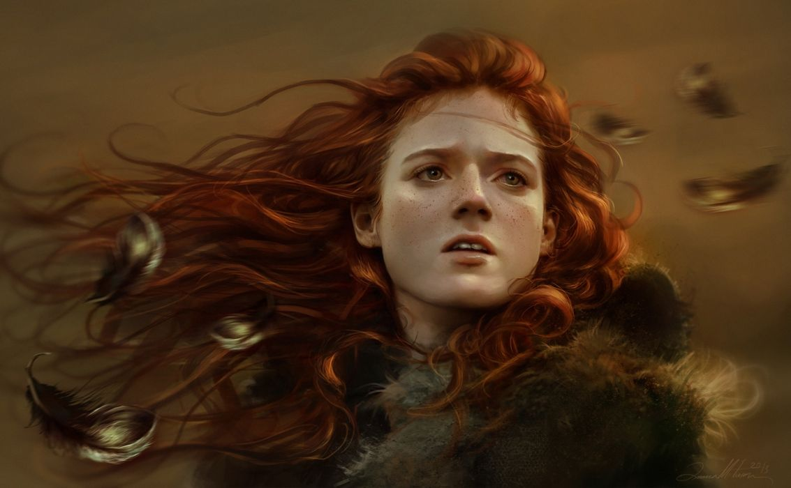 face game of thrones girl ygritte art fantasy mood redhead autumn (1) wallpaper