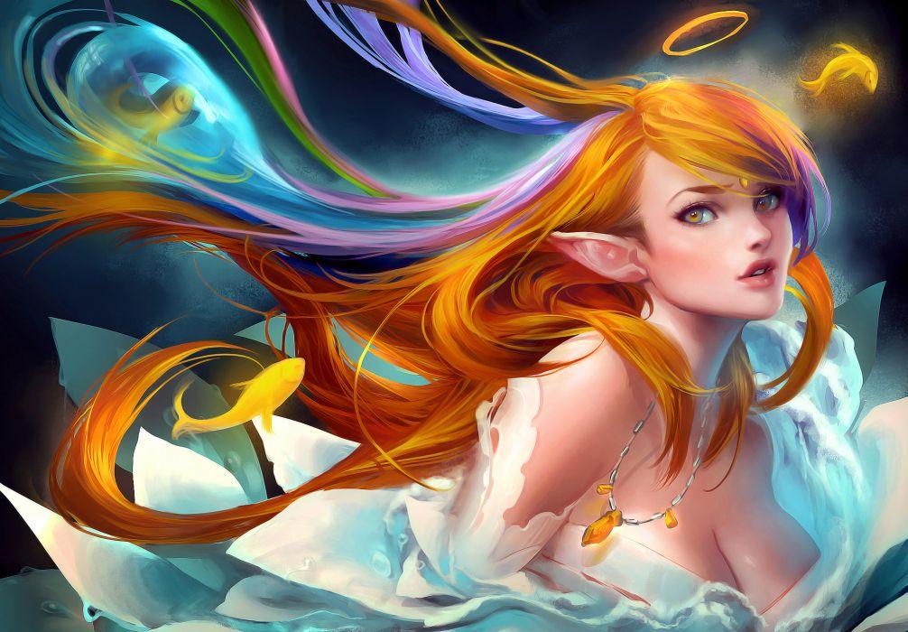 girl elf fish wallpaper