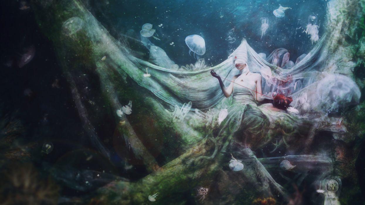 Mario Sanchez Nevado Aegis Strife seabed girl jellyfish heart dark horror fantasy ocean sea underwater wallpaper
