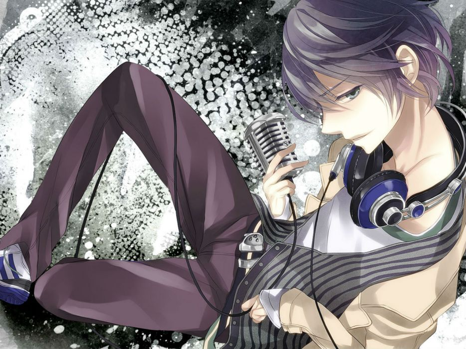original blue eyes headphones macco male microphone original purple hair short hair wallpaper