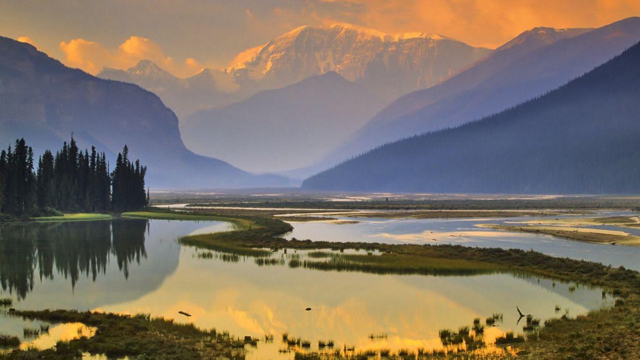nature mountain lake sunset reflection hd wallpaper wallpaper