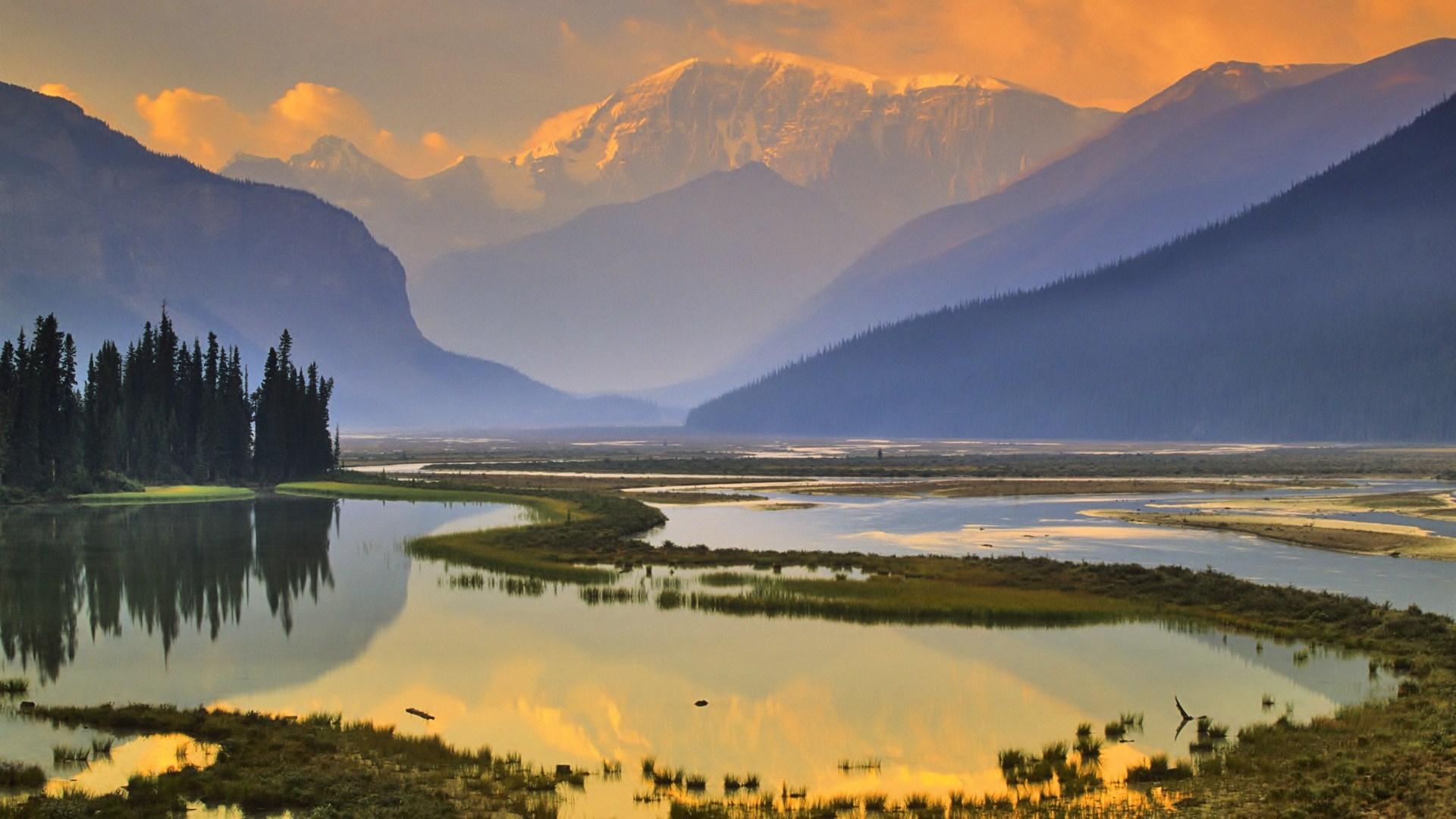 Lake Mountain Reflection Minimalism Wallpapers Hd: Nature Mountain Lake Sunset Reflection Hd Wallpaper