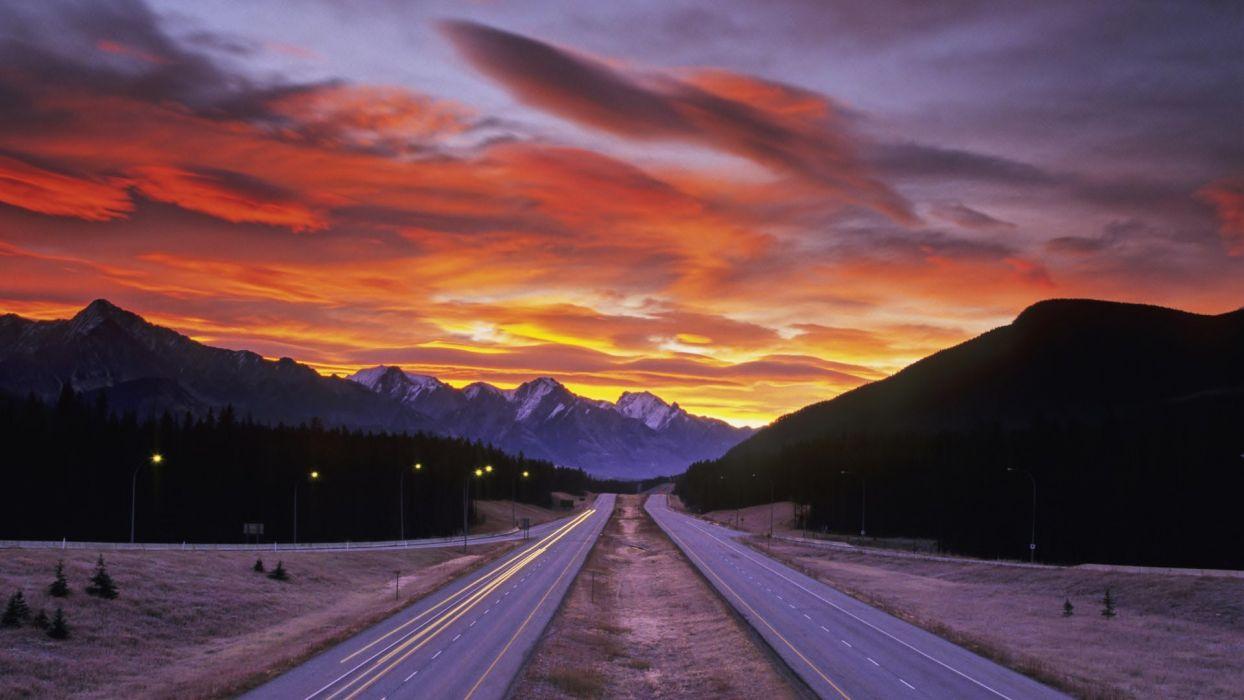 nature landscape road sunset mountain hd wallpaper wallpaper