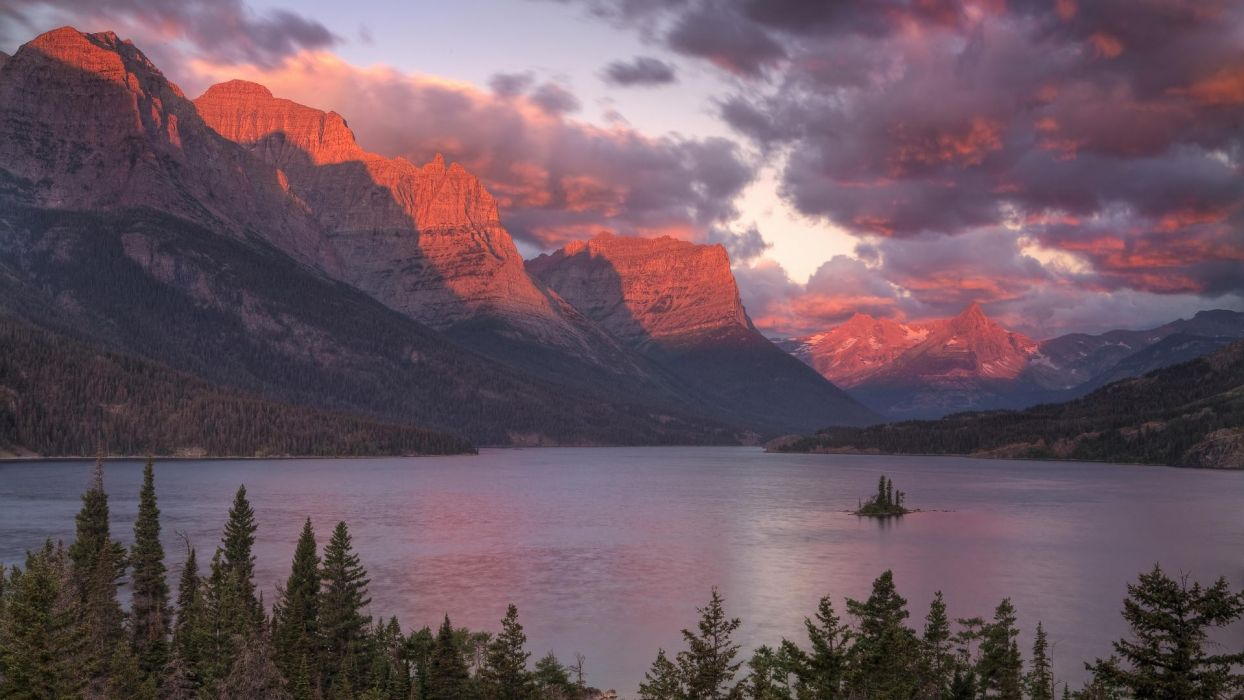 nature mountain lake sunset landscape hd wallpaper wallpaper