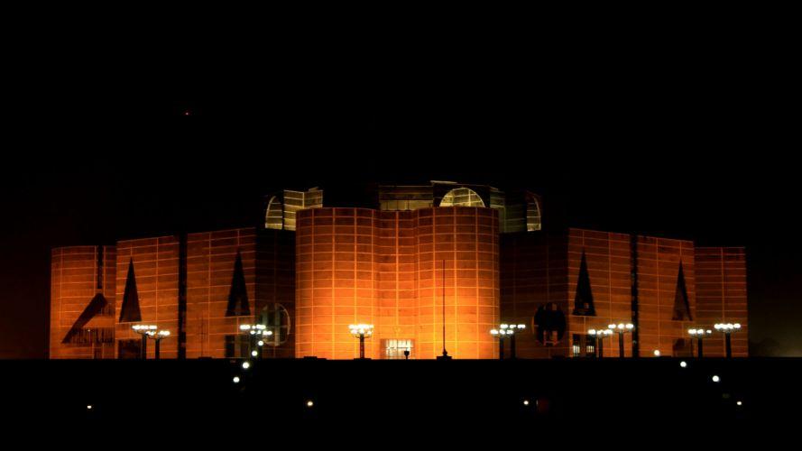 Bangladesh parlament house night hd wallpaper wallpaper