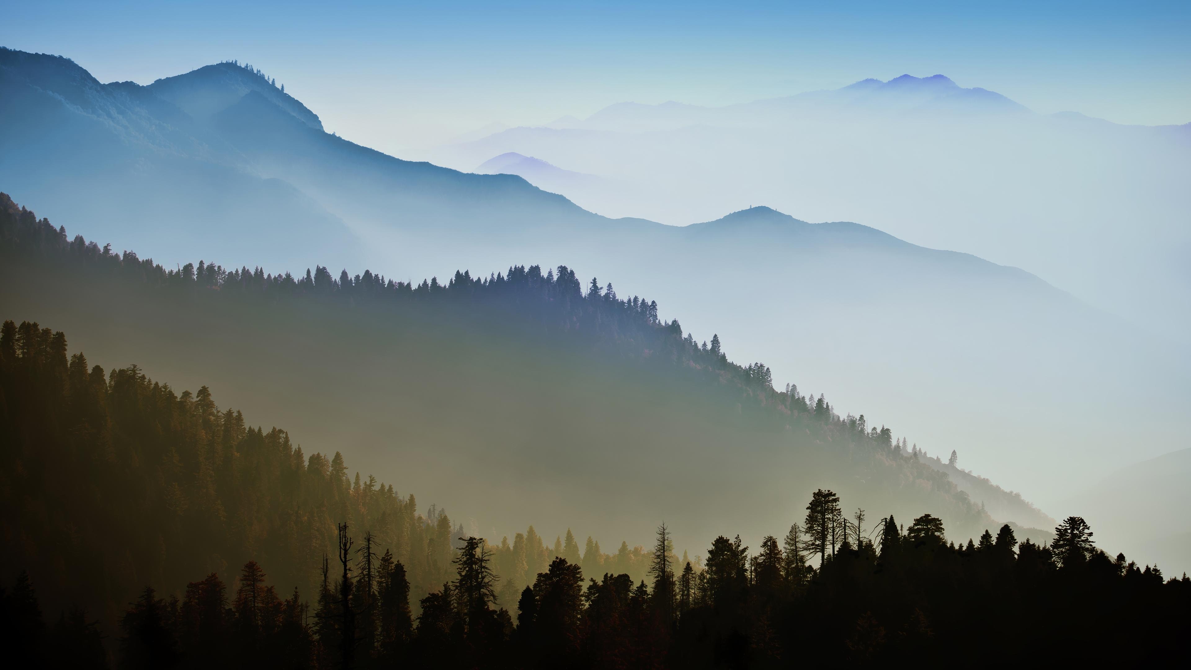 Nature mountain range fog sunrise landscape tree mac ox