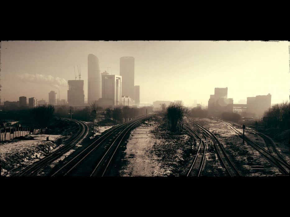 cityscapes buildings railroad tracks oscow wallpaper