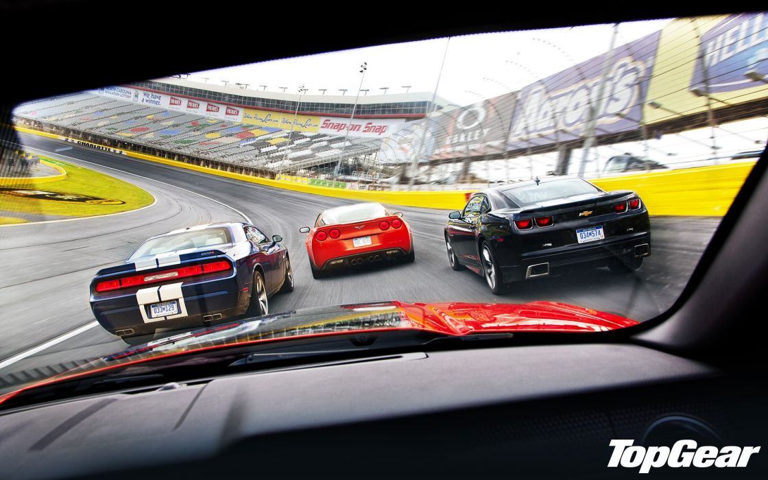 Top Gear muscle cars Chevrolet Camaro Corvette racing Challenger race tracks wallpaper