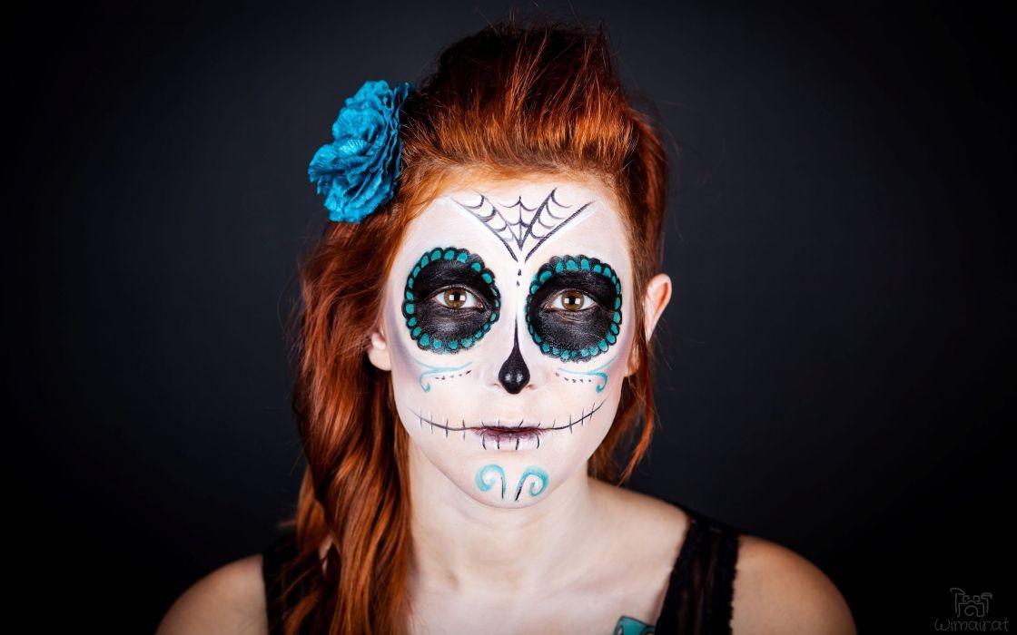 brunettes tattoos women skulls redheads models spider webs flower in hair portraits make up wallpaper