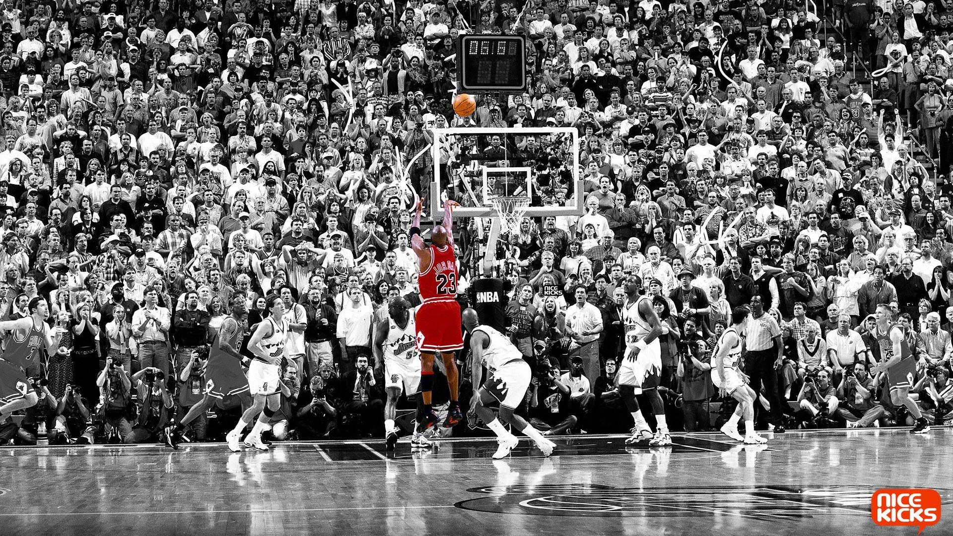 Black And White Red Basketball Michael Jordan Selective Coloring