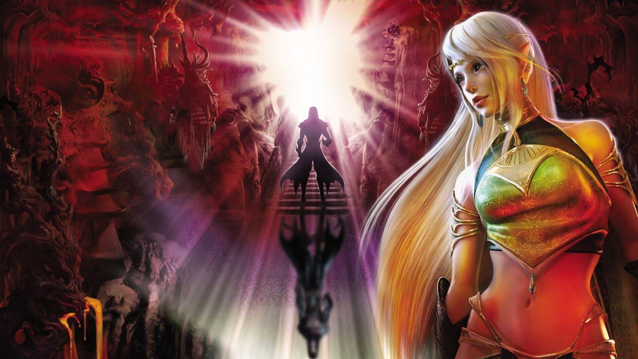 blondes women elves artwork wallpaper