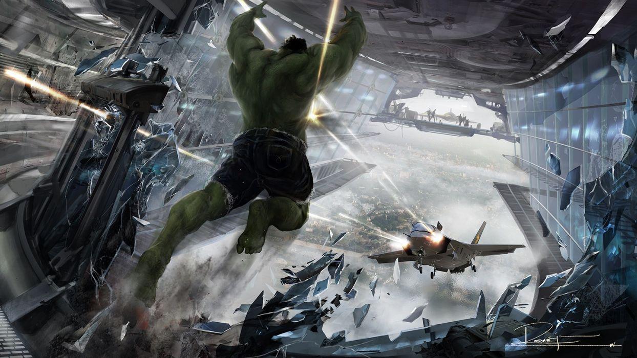 Hulk (comic character) concept art The Avengers The Avengers (movie) Jet plane wallpaper