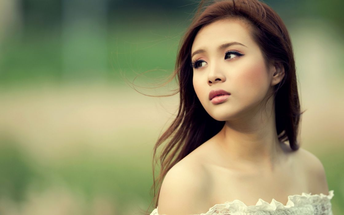 brunettes women Asians shoulders wallpaper