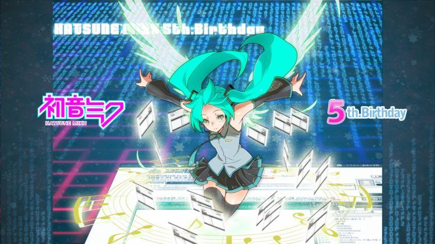 Vocaloid Hatsune Miku long hair twintails anime girls wallpaper