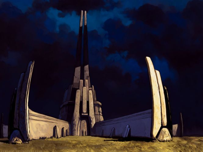 blue futuristic Magic: The Gathering buildings DeviantART science fiction wallpaper