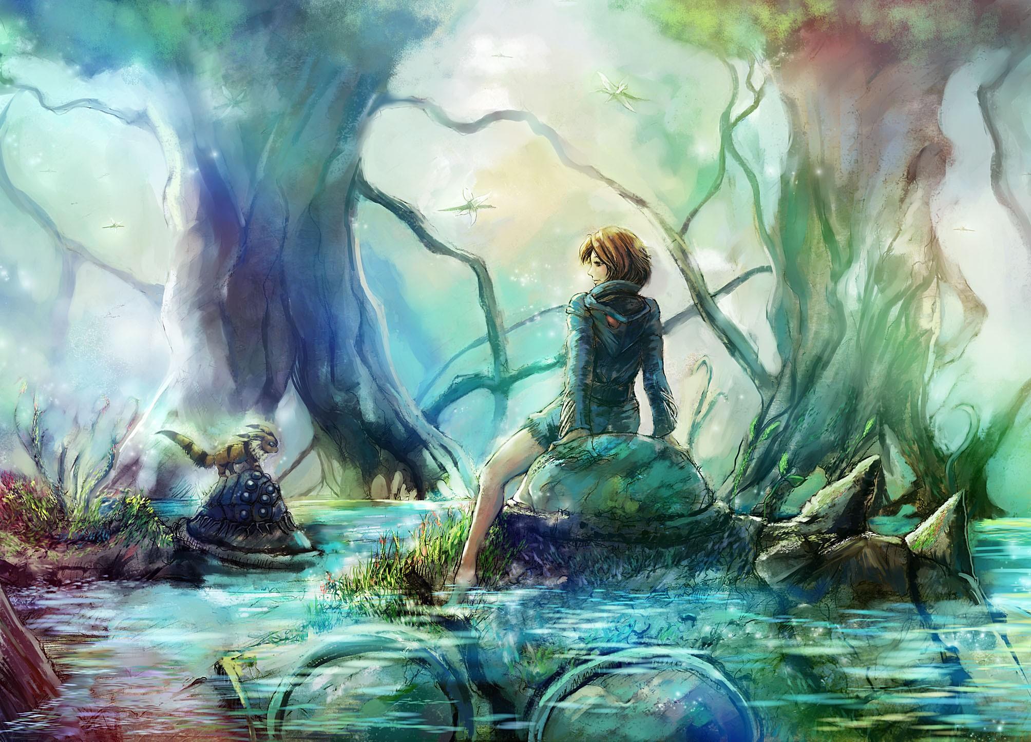 Legs Water Nature Hayao Miyazaki Feet Brown Barefoot Sitting Back View Drawings Studio Ghibli Anime Manga Nausicaa Of The Valley Wind Wallpaper