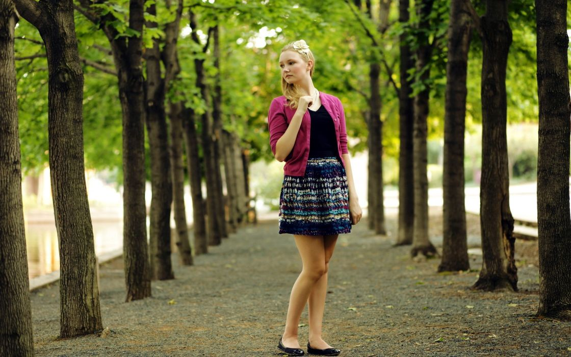 blondes women trees models wallpaper