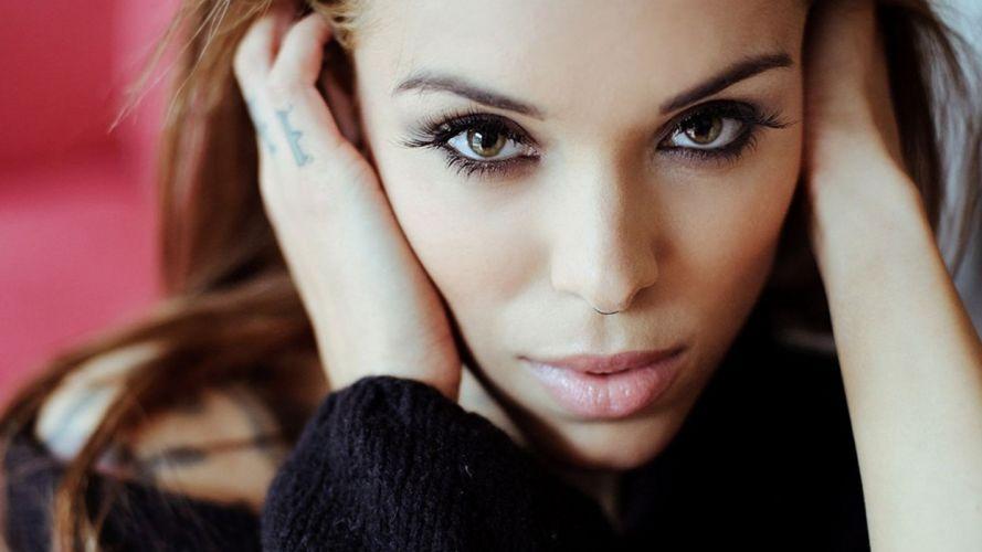 brunettes women close-up eyes faces Arabella Drummond wallpaper
