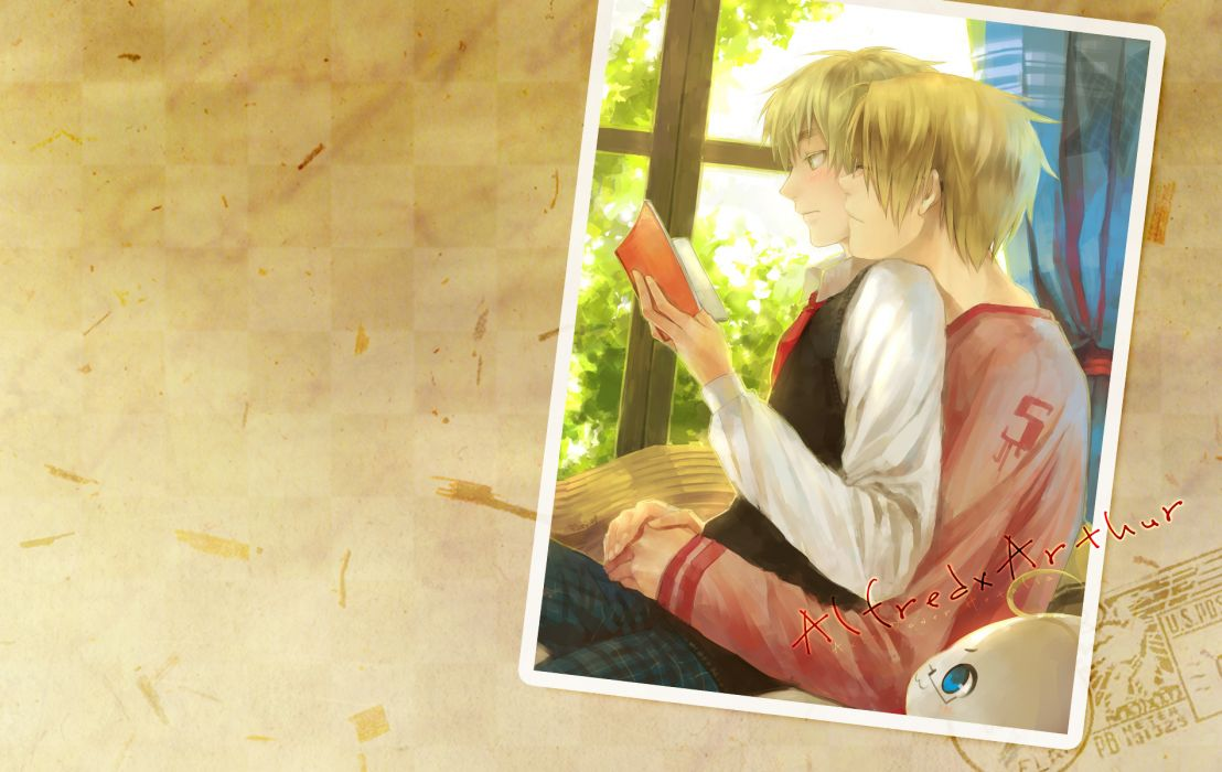 blondes England reading USA yaoi books United Kingdom anime Axis Powers Hetalia arthur kirkland Alfred F_ Jones wallpaper