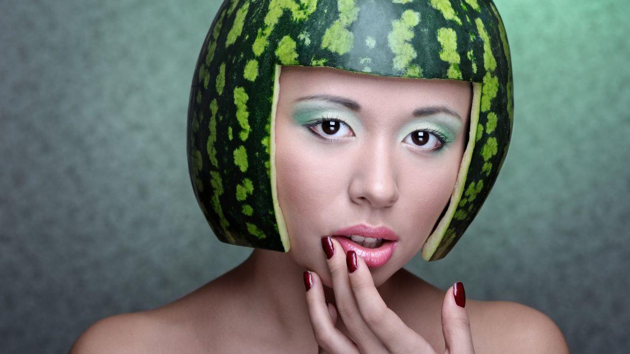 women artistic watermelons melon wallpaper