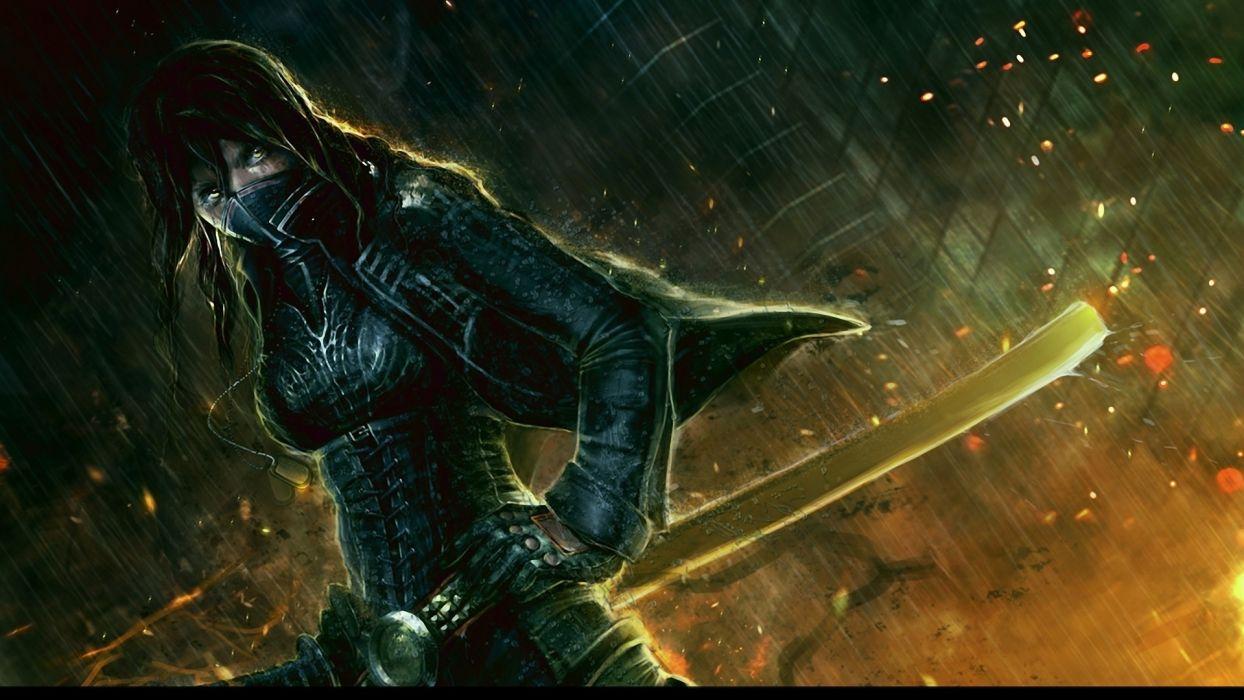 women paintings assassins artwork swords cities wallpaper