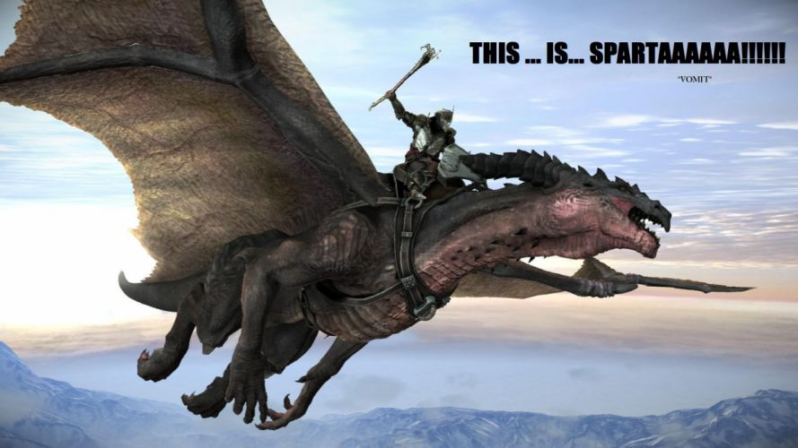 video games dragons Sparta rider funny Lair wallpaper
