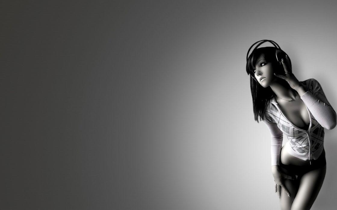 headphones women cleavage monochrome greyscale wallpaper