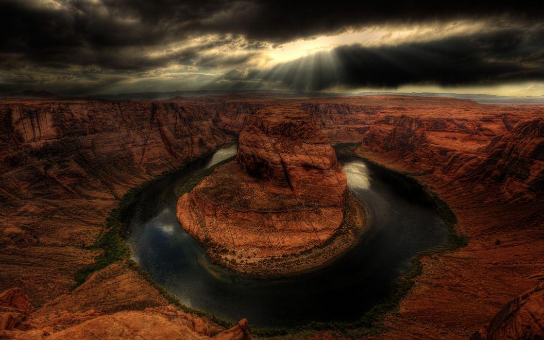 landscapes nature horseshoe bend HDR photography wallpaper