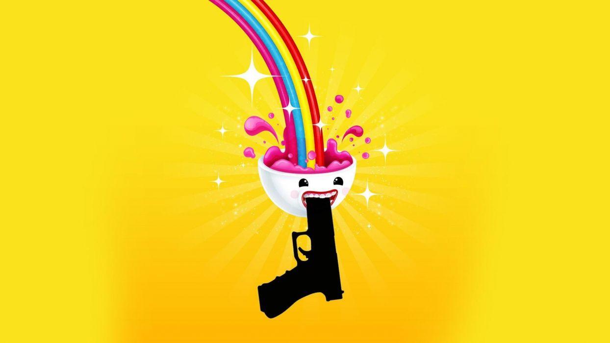 minimalistic funny suicide brain rainbows wallpaper