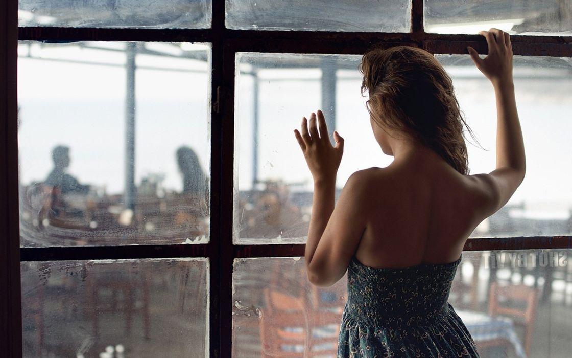 women landscapes nature dress window wallpaper