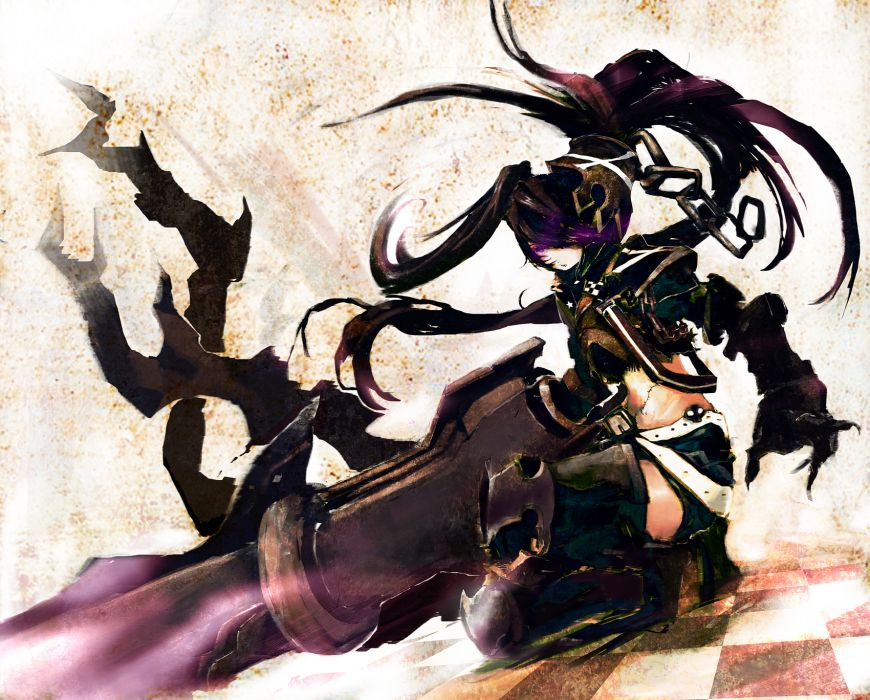 boots Black Rock Shooter long hair belts weapons armor scars thigh highs twintails checkered navel squatting shorts chains purple eyes anime girls Insane Black Rock Shooter gauntlets hair ornaments bangs black hair wallpaper