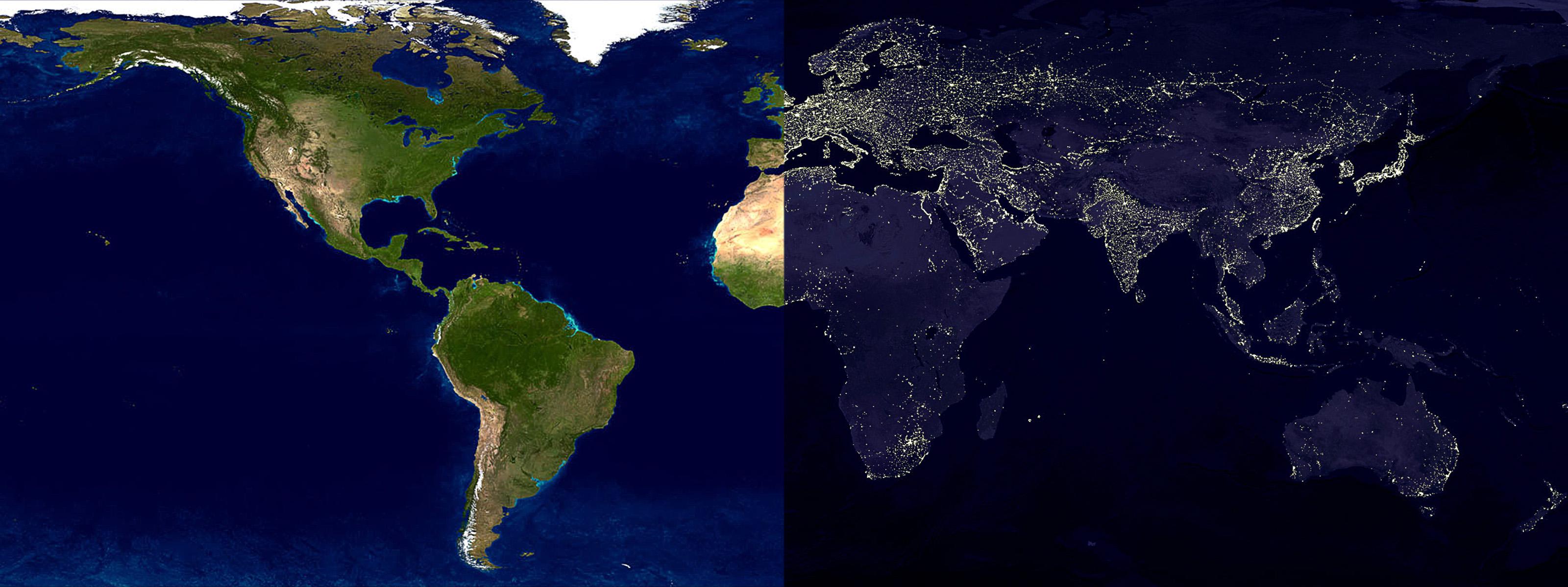 maps daylight world map nighttime wallpaper 3200x1200