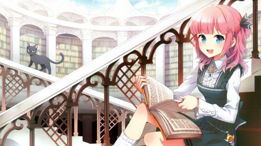 library anime girls wallpaper