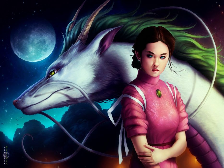 brunettes blue eyes Spirited Away Ogino Chihiro Moon Drake artwork Studio Ghibli wallpaper