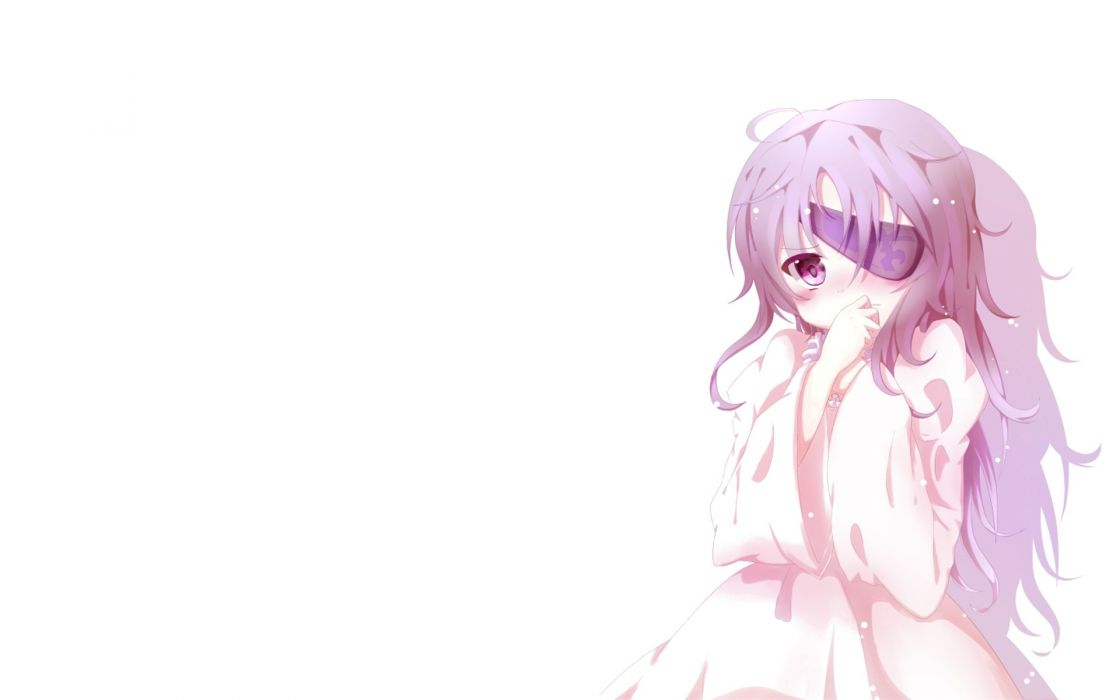 eyepatch purple hair purple eyes simple background anime girls white background Mirai Nikki Uryuu Minene wallpaper