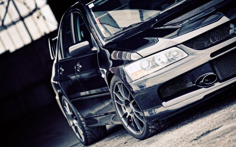 black dark cars vehicles Mitsubishi Lancer Evolution black cars Mitsubishi Evo wallpaper