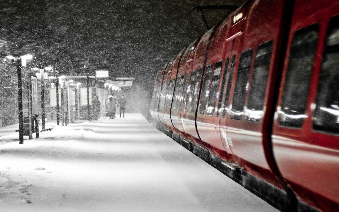 snow trains snowflakes Denmark s-tog wallpaper