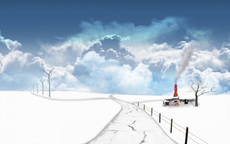 clouds landscapes snow digital art pathway wallpaper