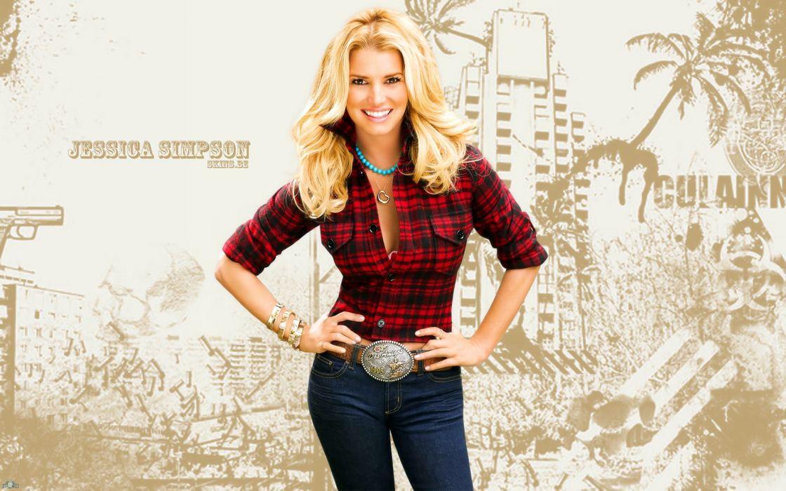 blondes women jeans belts celebrity brown eyes Jessica Simpson smiling singers bracelets wallpaper