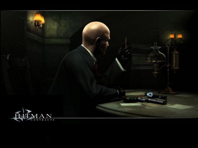 video games assassin guns men Hitman bullets bald wallpaper