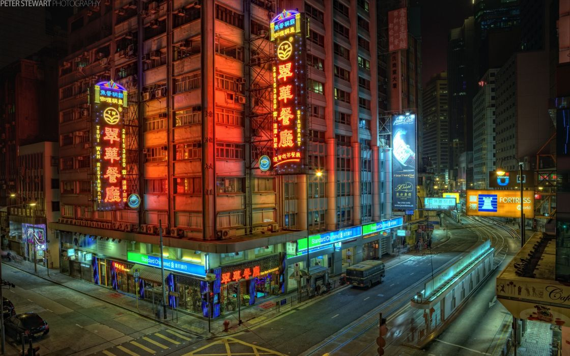 cityscapes streets buildings crossing Hong Kong city lights wallpaper