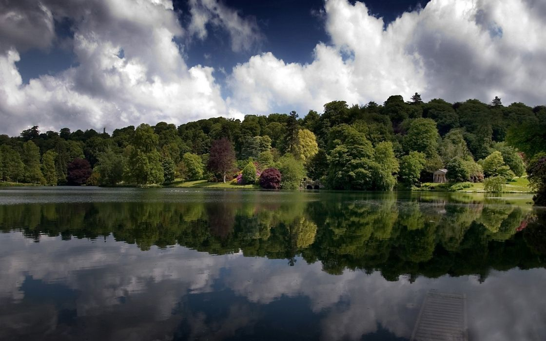water forests lakes skyscapes reflections wallpaper