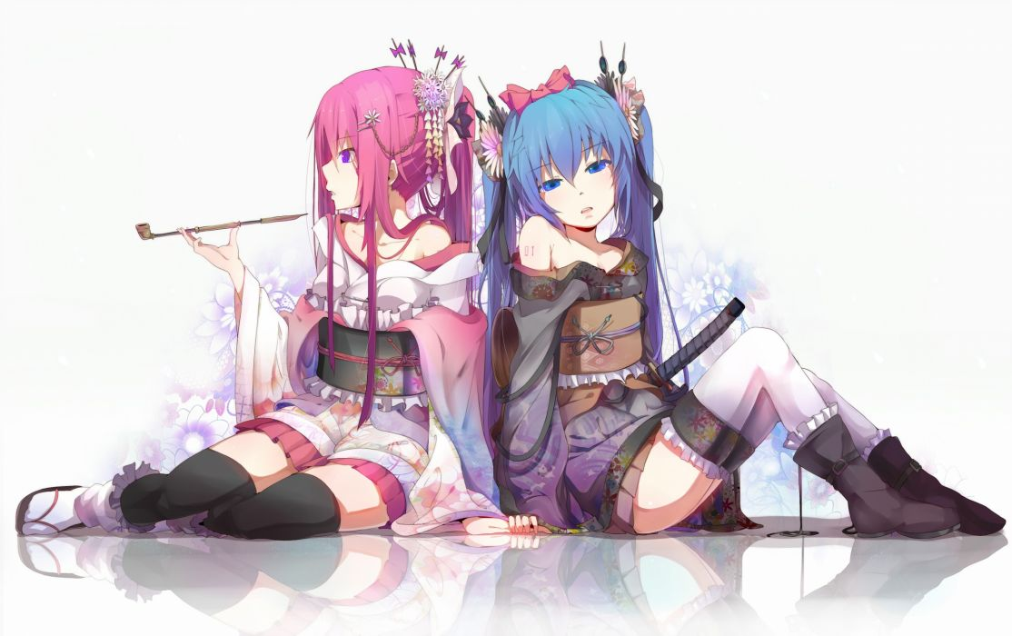 Vocaloid flowers Hatsune Miku blue eyes Megurine Luka Japanese long hair kimono blue hair pink hair thigh highs twintails pipes ponytails purple eyes Japanese clothes wallpaper