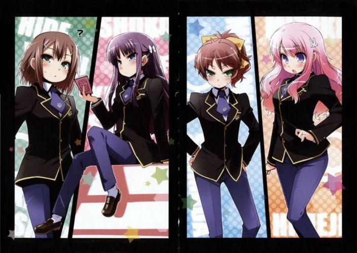 school uniforms Baka to Test to Shoukanjuu anime Kinoshita Hideyoshi Himeji Mizuki Shimada Minami Kirishima Shouko wallpaper