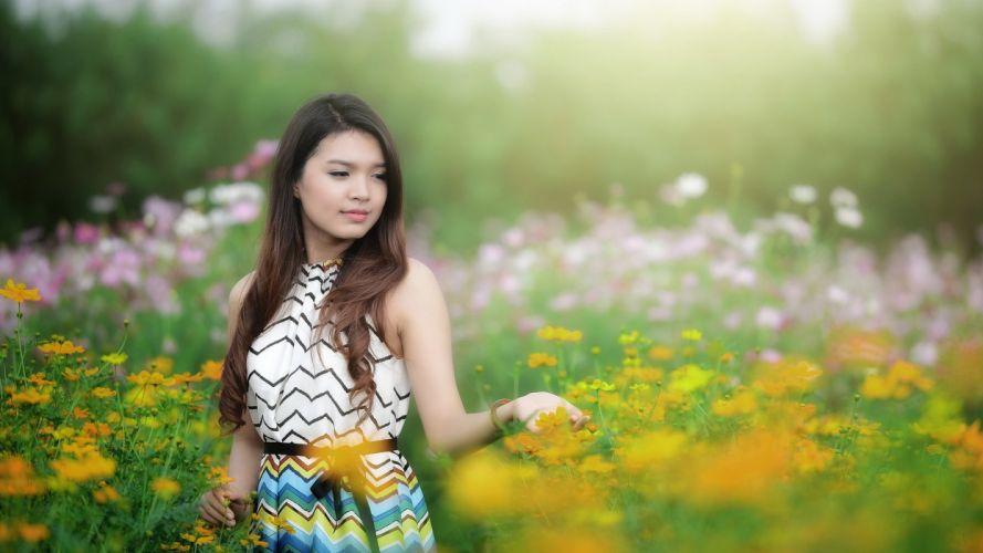 blondes women dress flowers Asians models wallpaper