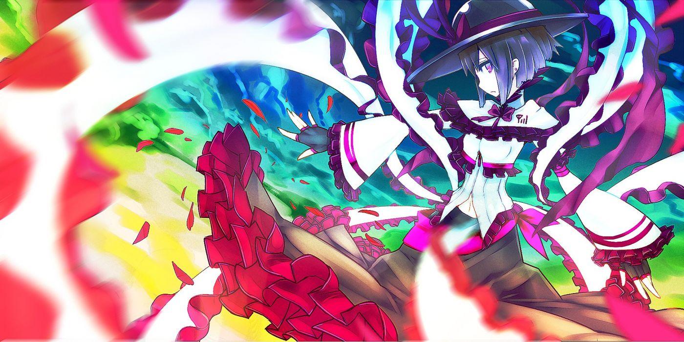 Touhou multicolor flowers purple hair pink hair short hair anime Nagae Iku anime girls colors wallpaper