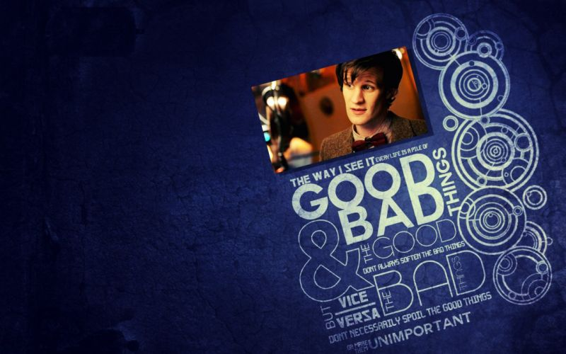 quotes Matt Smith circles typography Eleventh Doctor Doctor Who blue background wallpaper