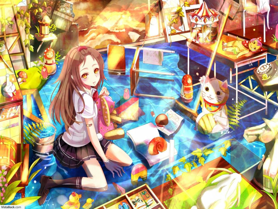 brunettes water multicolor school uniforms anime girls wallpaper