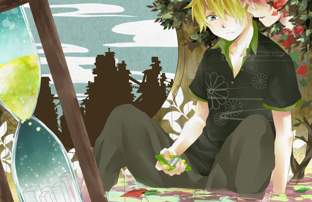 blondes water pants clouds paper trees Vocaloid flowers blue eyes houses Kagamine Len pink hair shirts cellphones sitting anime boys roses sandglass wallpaper